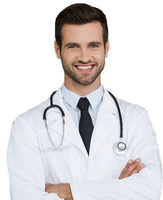 doctor with statoscope crossing hands and smiling